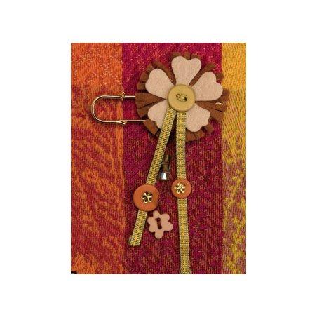 Broche fleur beige et brune