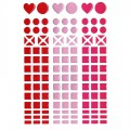 Mosaique stickers camaïeu rouge, rose