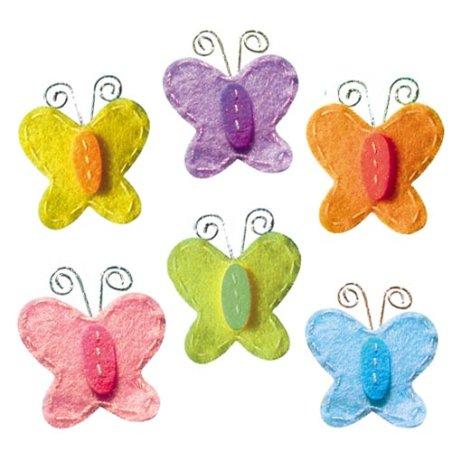 Papillons bicolore feutrine adhésive x6