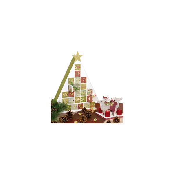 Calendrier avent bois triangle 51cm tout creer - Calendrier avent sapin bois ...