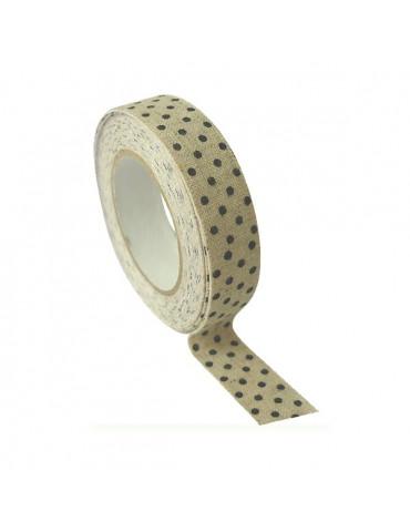 Masking tape Lin pois noir 15mm