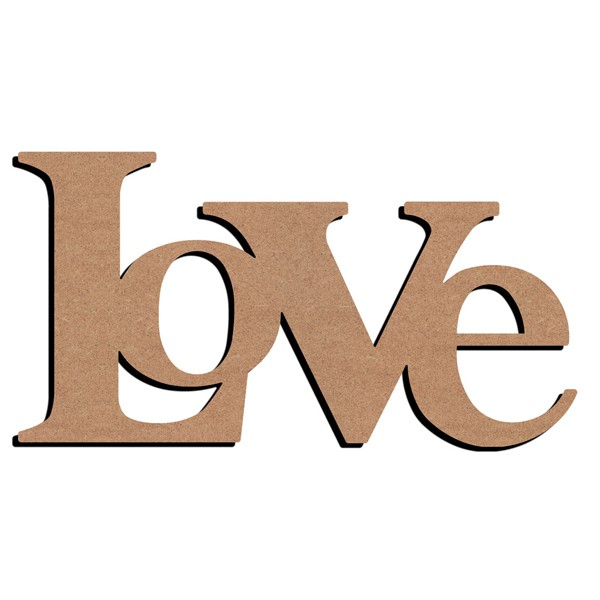 Support bois love loft 58cm for Decoration murale love