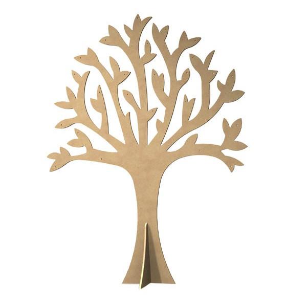 Gomille support bois d corer arbre perc avec pied 30cm for Arbre mural en bois