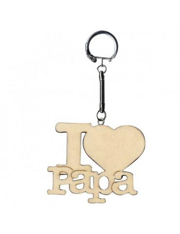 Porte-clés bois - I Love Papa