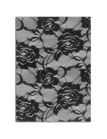 Tissu thermocollant - Dentelle noir Roses A5