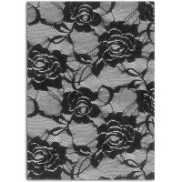 Tissu thermocollant - Dentelle noir Roses A5