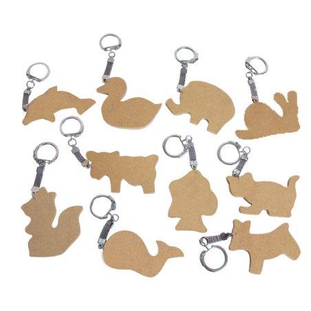 Porte-clés bois animaux x10
