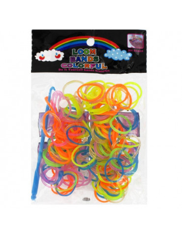 Loom Bands Colorful - 200 élastiques mix transparents
