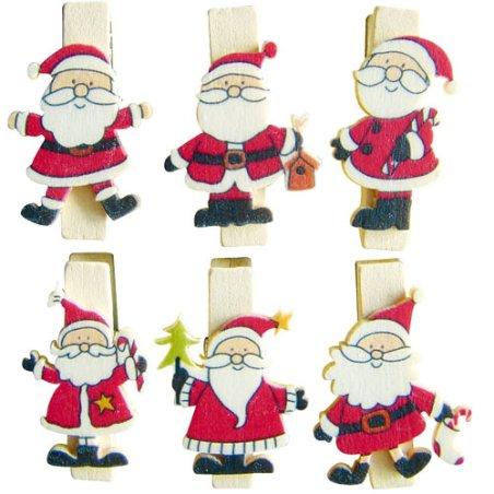 Pinces magnets Père Noël x6