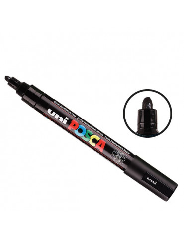 Posca - Marqueur peinture Noir PC5M - pointe conique moyenne 2,5mm