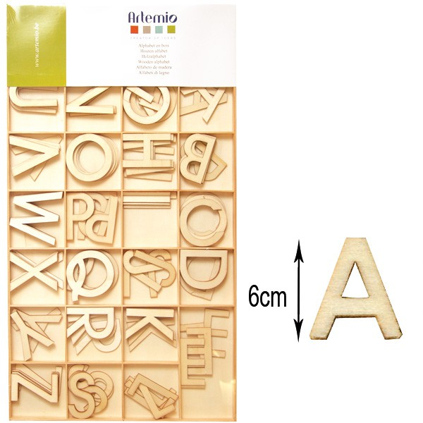 alphabet majuscule 130 lettres en bois 6cm artemio. Black Bedroom Furniture Sets. Home Design Ideas