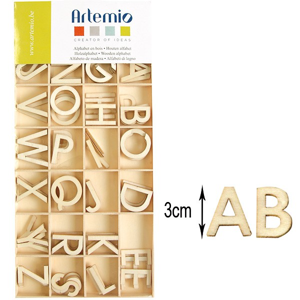 alphabet majuscule 130 lettres en bois 3cm artemio. Black Bedroom Furniture Sets. Home Design Ideas