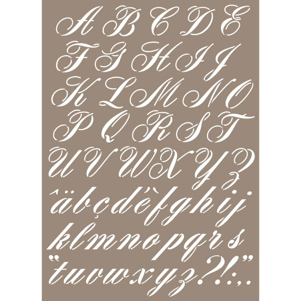 pochoir lettre alphabet calligraphie 29 7x42 cm artemio. Black Bedroom Furniture Sets. Home Design Ideas
