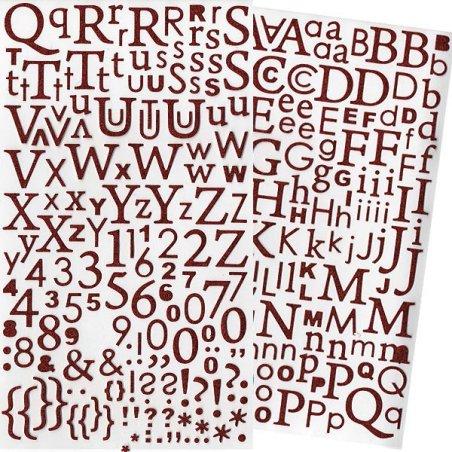 Alphabet autocollant paillettes Rouge - 300 pcs