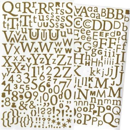 Alphabet autocollant paillettes Or - 300 pcs