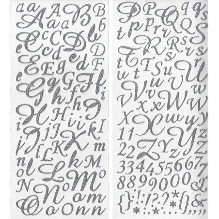 Alphabet autocollant paillettes Argent - 177 pcs
