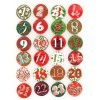 Chiffes calendrier avent - Boutons pin's Vert et rouge