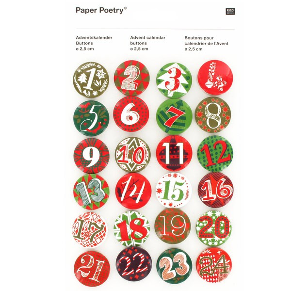 pin 39 s chiffres calendrier de l 39 avent rouge vert rico design. Black Bedroom Furniture Sets. Home Design Ideas