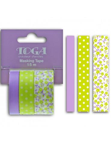 Masking tape - Fleurs Pois Uni Violet et vert - Toga