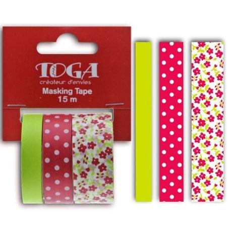 Masking tape - Assortiment Fleurs Pois Uni Framboise /anis - Toga