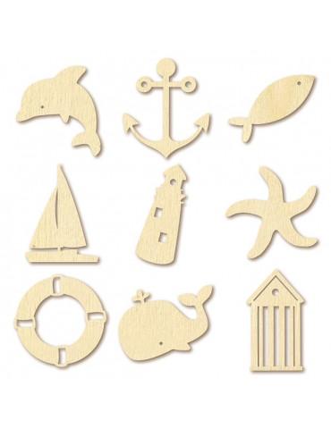 Mini silhouettes bois - Mer - Artemio
