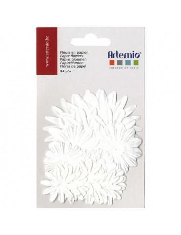 Fleurs papier assorties Blanc x24