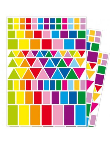 Gommettes géométriques - Mix couleurs vives x348