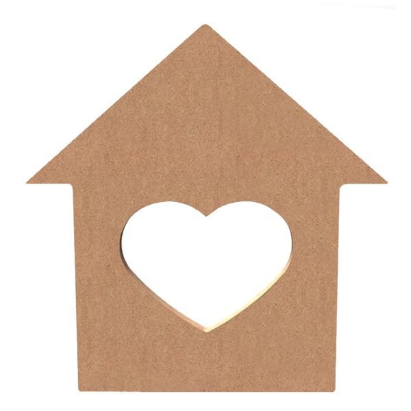 Gomille support bois d corer maison coeur 15 cm for Support bois a decorer