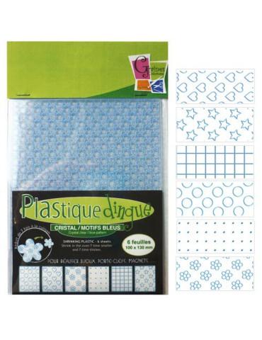 Plastique dingue motifs bleu - 6 feuilles petit format