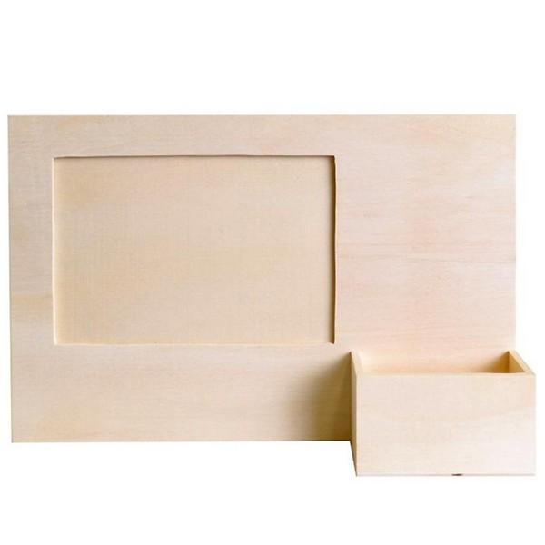 cadre photo bois avec porte t l phone support bois d corer artemio. Black Bedroom Furniture Sets. Home Design Ideas
