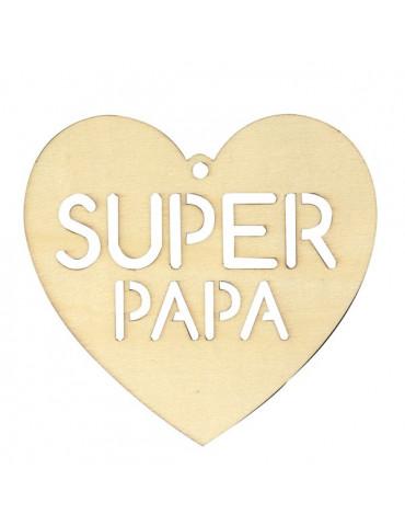 Silhouette bois Coeur Super Papa - Artemio