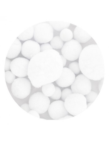 Pompons blanc tailles assorties x72