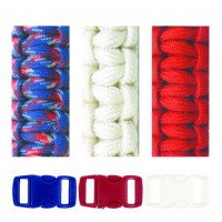 Kit bracelets Paracorde Blanc Rouge Bleu 2mm