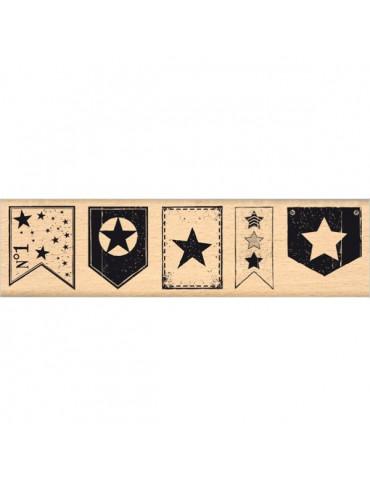 Tampon bois Fanions étoilés - Florilèges Design