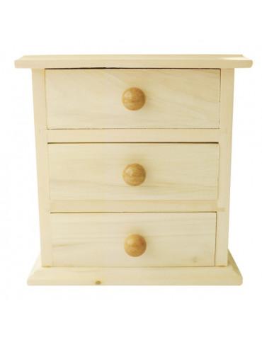 Meuble miniature 3 tiroirs en bois - 16x9x14cm