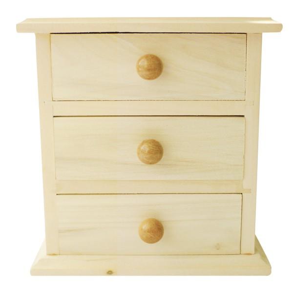 Meuble miniature en bois 3 tiroirs 16x9x14cm graines for Petit meuble a tiroir en bois