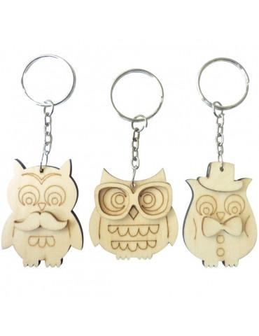 Porte-clés bois - Hibou 5cm x6
