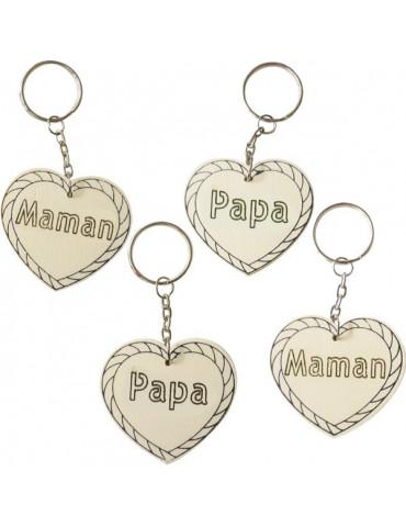 Porte-clés bois coeur - Papa / Maman 6cm x10