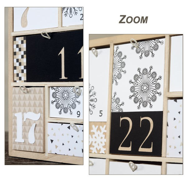 calendrier de l 39 avent bois g om trique 40cm artemio. Black Bedroom Furniture Sets. Home Design Ideas