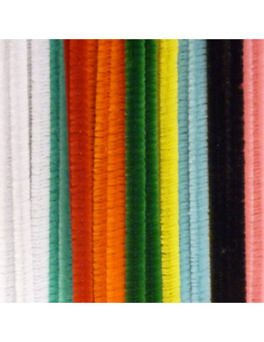 Fils chenille multicolores 8mm x45