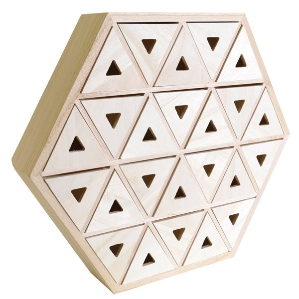 calendrier de l 39 avent en bois hexagonal 36cm artemio. Black Bedroom Furniture Sets. Home Design Ideas
