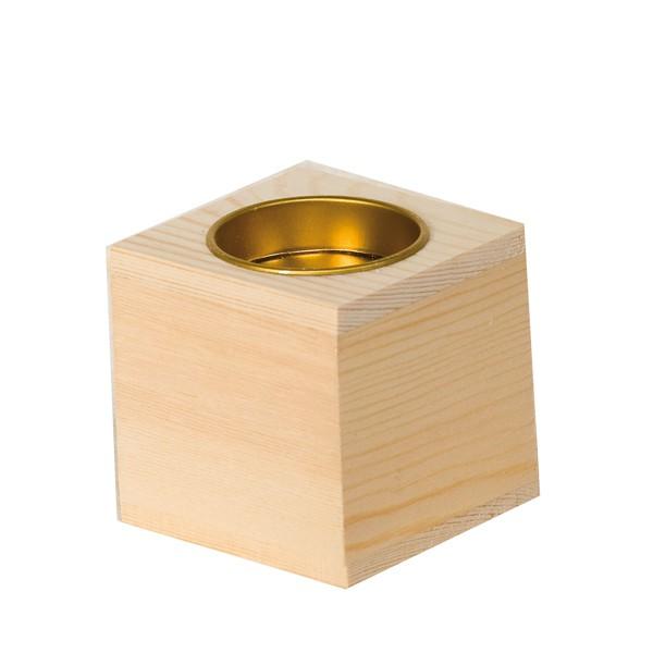 Bougeoir en bois pour bougie chauffe plat bougeoir cube for Boite en bois a decorer pas cher