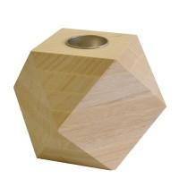 Bougeoir bois Diamant - 12x12x12 cm