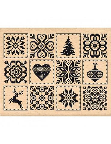 Tampon bois Carrés nordiques - Florilèges Design