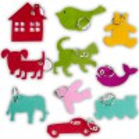 Porte-clés à personnaliser - 10 Formes feutrine assorties