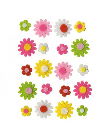 Formes feutre Mini fleurs x20 - 1,2 et 2cm