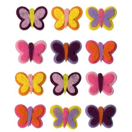 Formes feutre Papillons x12 - 2,5x2cm