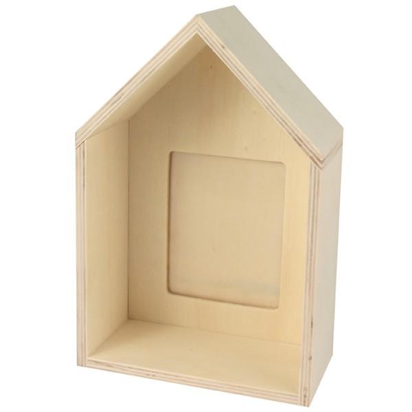 cadre photo profond en bois forme maison 10x15cm photo. Black Bedroom Furniture Sets. Home Design Ideas