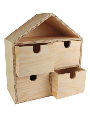 Petit meuble de rangement forme maison - 20x19x22,5cm