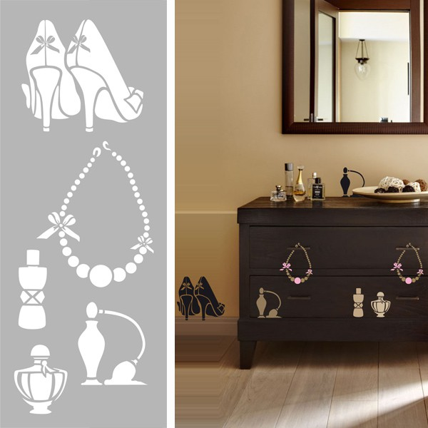 pochoir glamour 15x40cm pochoir mural dtm. Black Bedroom Furniture Sets. Home Design Ideas
